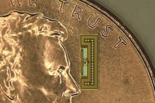 The tiny radio-on-a-chip gathers all the power it needs from the same electromagnetic waves that carry signals to its receiving antenna.