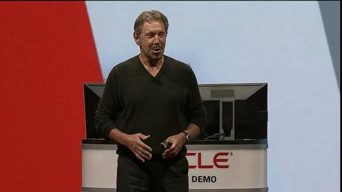 Larry Ellison speaks on stage at Oracle Open World in San Francisco on September 30, 2014