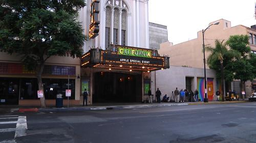 Scene outside the California Theater in San Jose ahead of an Apple product launch on October 23, 2012