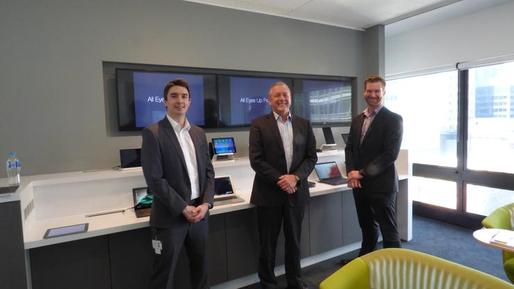 VMware's Will Dallender-Jones, Duncan Bennet and Aaron Steppat showing off the new VMware Briefing Centre.
