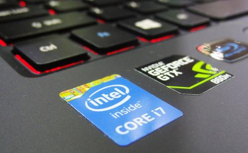 A laptop with an Intel Core i7 processor, on show at Computex 2015 in Taipei