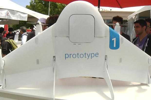 A prototype Google Project Wing drone on show at Maker Faire Bay Area in San Mateo, CA, on May 15, 2015. Credit: Melissa Aparicio