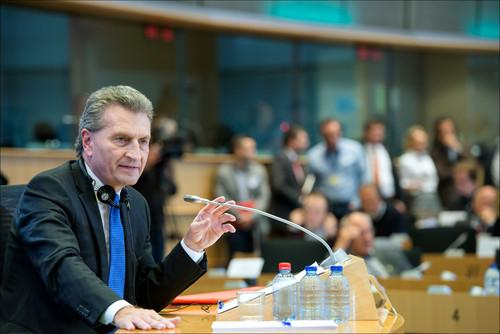 Günther Oettinger, EU commissioner-designate for Digital Economy and Society during his evaluation hearing in the European Parliament.