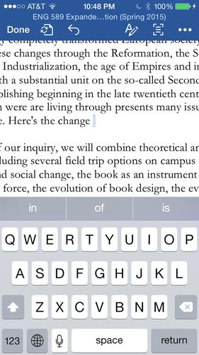 Word for iOS' new reflow feature provides access to more text by hiding the standard ribbon.