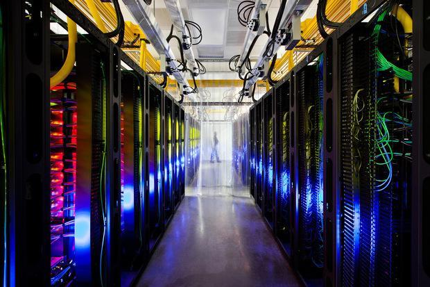 Fiber optics link servers in data center on Google's campus. Credit: Google