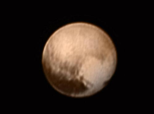 The Long Range Reconnaissance Imager, or LORRI, on board NASA's New Horizons spacecraft captured this image of Pluto and sent it back to Earth on July 8.