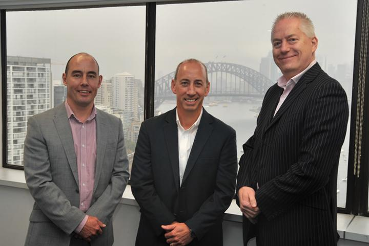 LogRhythm A/NZ sales director, Simon Howe, with LogRhythm global CMO, Mike Reagan, who is visiting Australia, and WhiteGold commercial director, Leigh Howard.