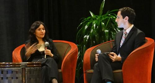 FTC Chairwoman Edith Ramirez, speaking at the Privacy Identity Innovation conference in Palo Alto on Nov. 12, 2014, with Tony Romm of Politico.
