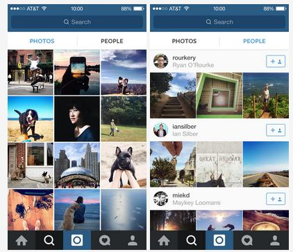 "Instagram's ""explore"" tab now features two feeds for finding more photos and accounts to follow."
