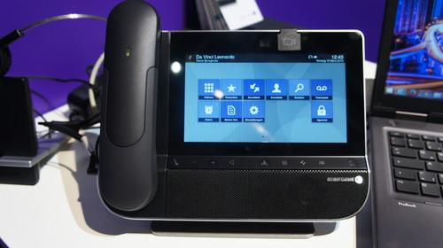 The 8088 Smart Deskphone from Alcatel-Lucent Enterprise has a 7-inch touchscreen and a 5-megapixel camera.