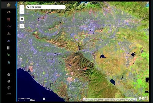 The Esri ArcViewer allows users to zoom in and explore Landsat imagery