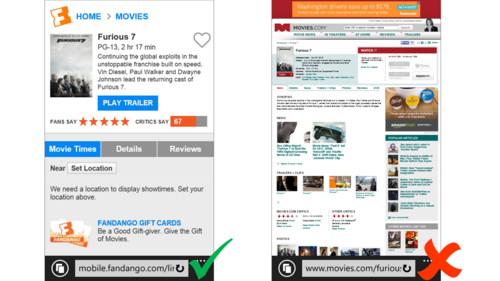 Bing's new ranking algorithm for search results will prioritize sites that have been optimized for mobile, like Fandango, pictured above.