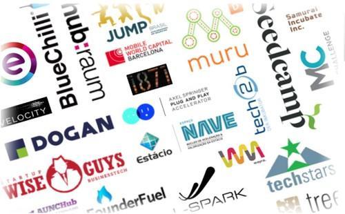 Logos of accelerators participating in BizSpark Plus