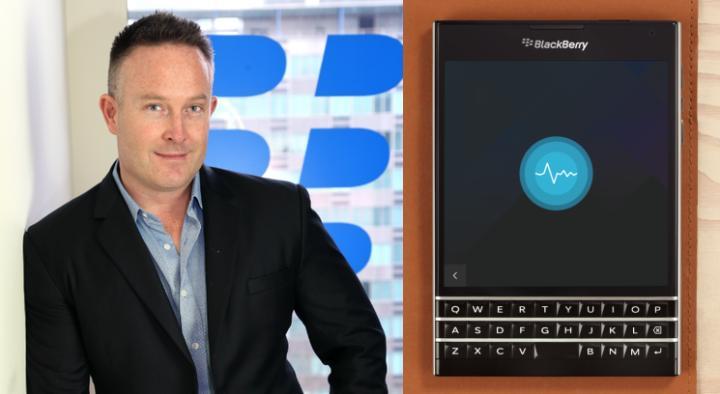 Left: BlackBerry Australia managing director, Matt Ball; Right: BlackBerry's Passport smartphone (launch TBA).