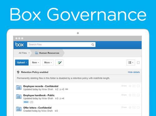 Box's new Governance tool for managing sensitive data.