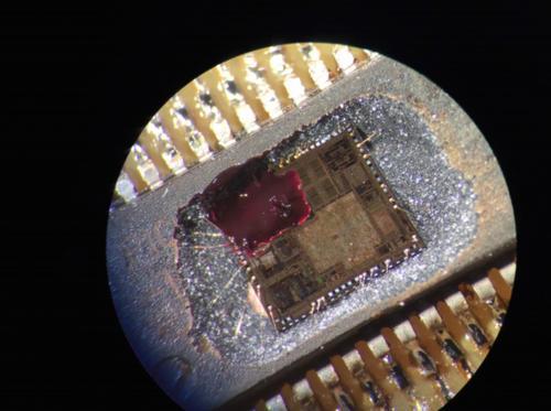 A photo of the embedded microchip inside a CyberLock.