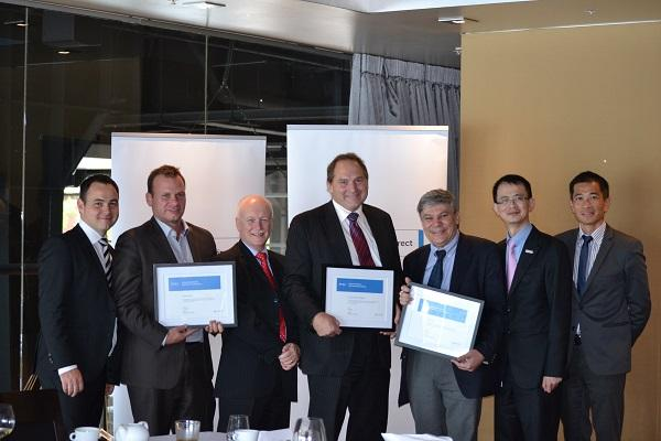 Dell award winners (L to R): Dell's Peter Murphy; Global One's John Kara; Anittel's Michael Cook; Intuit's Pieter Kolkert; Anittel's Peter Kazacos; Dell's Richard Lee and Terence Ng.