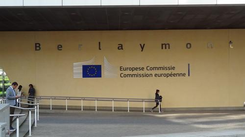 The entrance of the European Commission headquarters in Brussels on June 17, 2015