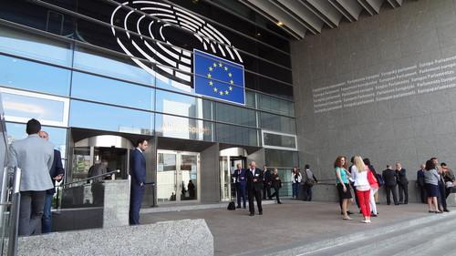Entrance of the European Parliament's Altiero Spinelli Building in Brussels on June 17, 2015