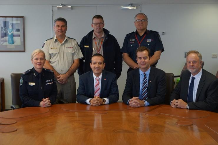 South Australian emergency services chiefs come together for announcement of network upgrade.