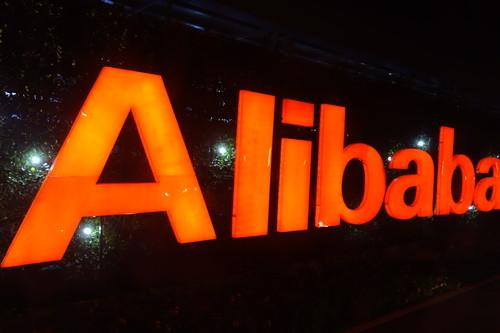 An Alibaba sign at the company's offices in Hangzhou, China.