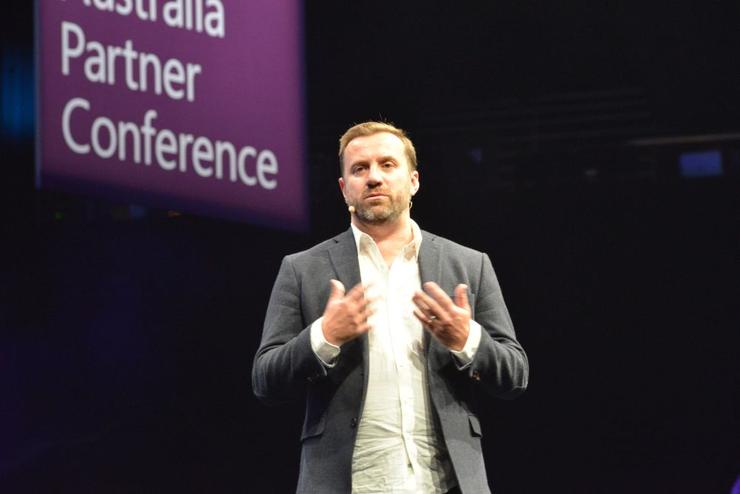 Livetiles co-founder and CEO, Karl Redenbach, speaking at this year's Microsoft APC on the Gold Coast
