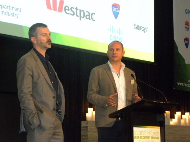 Data61 chief executive, Adrian Turner and Stone & Chalk chief executive, Alex Scandurra at the National Fintech Cyber Security Summit 2016