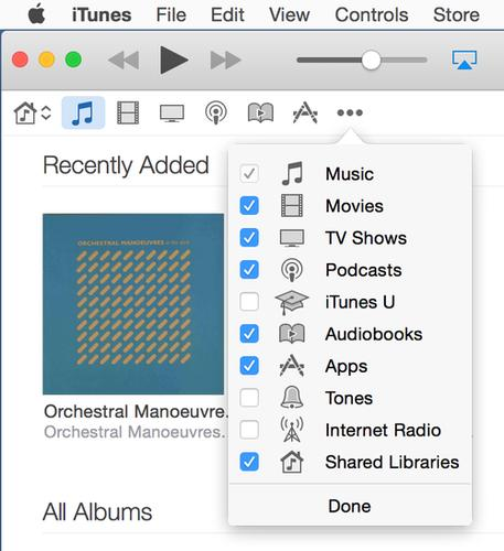 Choose which media libraries you want to access via the navigation buttons.