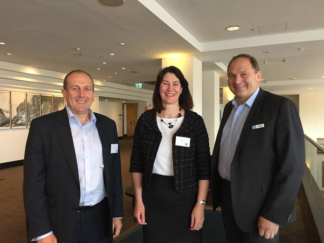 Geoff Wright, General Manager ANZ Channel and Alliances; Angela Fox, Managing Director, A/NZ at Dell; and Pieter Kolkert, CEO Tasmania (FAICD) at the Intuit Technologies Solutions Showcase Event in Hobart
