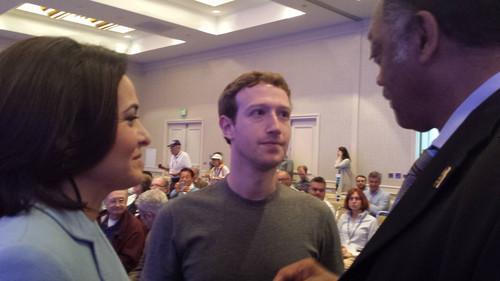 Jesse Jackson, Mark Zuckerberg, Sheryl Sandberg at shareholder meeting in June