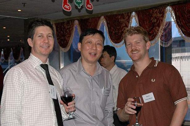 From left: James Warner (Enerds), Hugo Cheung (Compucon) and Tristan Warner (Enerds)
