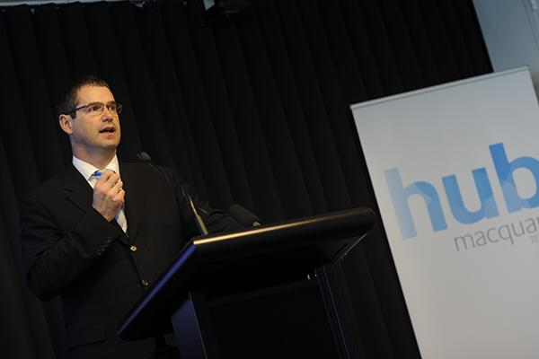 Communications Minister, Stephen Conroy, at the launch of Macquarie Telecom's $5 million call centre