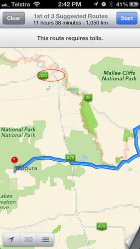 As shown, Apple's Maps directs you to the National Park (from Sydney) when searching for Mildura, whereas the town's real location is 70km north, as we have circled.
