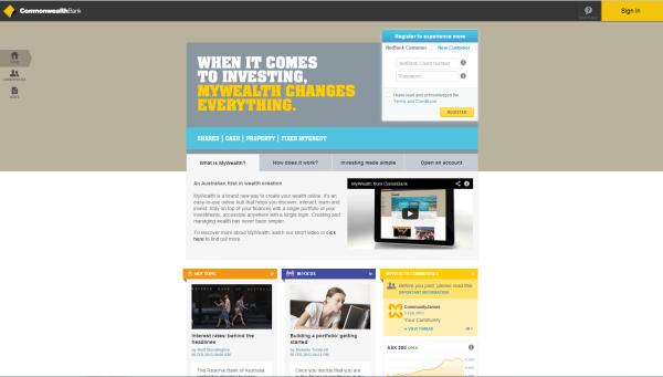 CommBank's MyWealth site