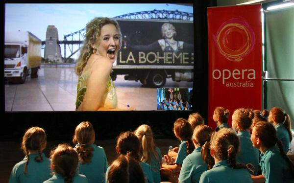 A group of students from the Coffs Harbour Conservatorium of music put through their paces by the soprano, running through a set of opera scales streamed live in high definition from the Sydney Opera House across an NBN-enabled two-way video conferencing link.