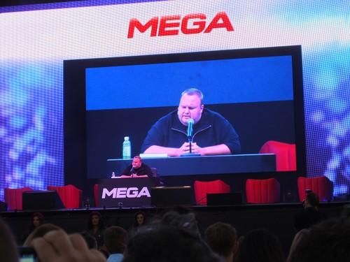 Kim Dotcom at the Mega launch in New Zealand Sunday