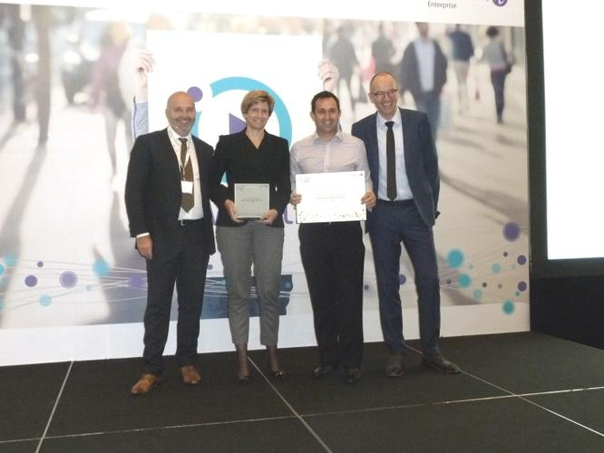 ALE senior vice president APAC, Gerry Sillars, ALE vice president A/NZ, Maud Holvast, ALE channel sales director, Chris Downes (accepted the award on behalf of Nexon), ALE executive vice president global sales and marketing, Jan Zuurbier