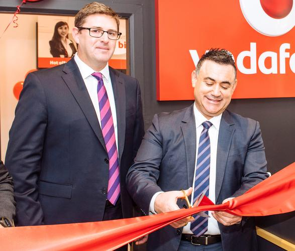 NSW Minister for Small Business, John Barilaro, with Vodafone general manager of enterprise, Stuart Kelly