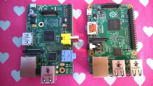 The original Raspberry Pi Model B (left) and the Raspberry Pi 2 Model B (right). The extra USB ports rock.
