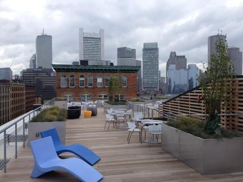LogMeIn's roof deck offers view of the Boston skyline.