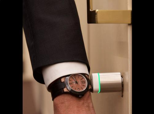 The Bulgari Diagono Magnesium smartwatch has an NFC chip and can be used to unlock doors and perform other functions.