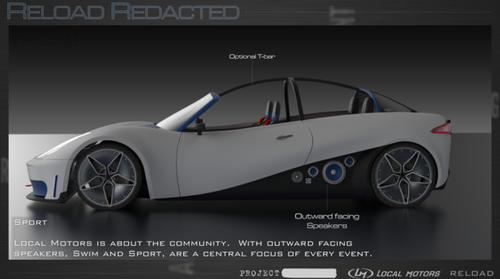 """A computer-generated image of the """"Sport"""" model of the ReLoad Redacted 3D-printed car."""