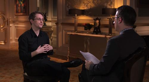 "Edward Snowden during an interview with HBO's John Oliver, aired on ""Last Week Tonight"" on April 5, 2015."