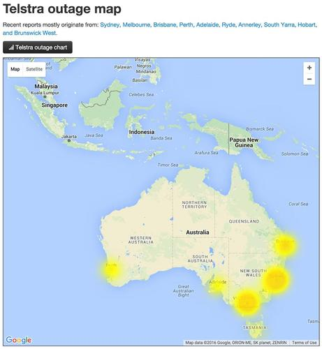 The Telstra outage map