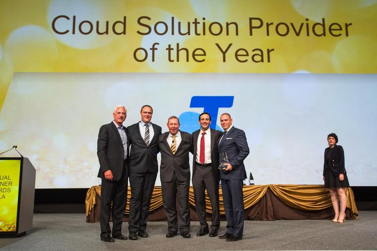 The Telstra team after winning Cloud Solution provider of the Year Award.