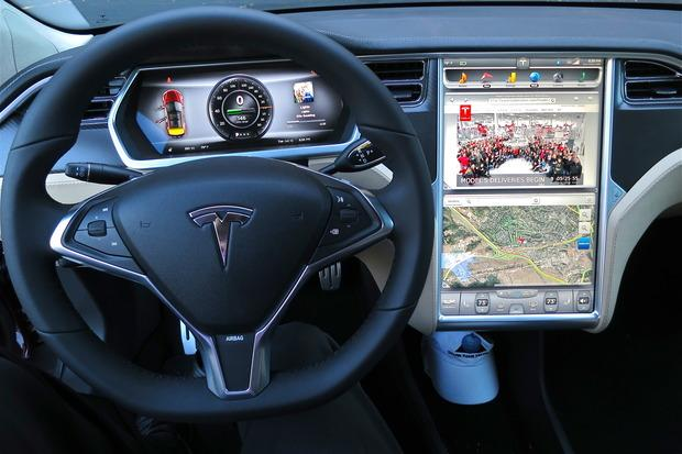 Tesla's large 17-in infotainment system and instrument cluster are powered by Nvidia processors.
