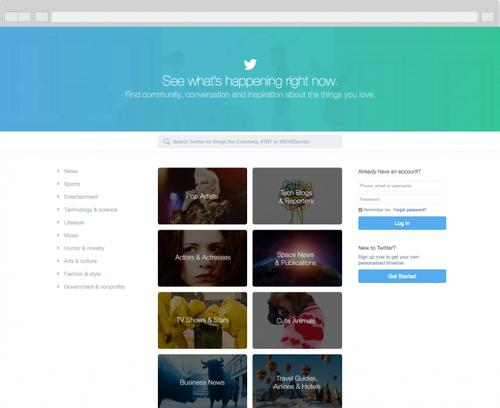 Twitter's new home page for people without accounts, pictured April 15, 2015.