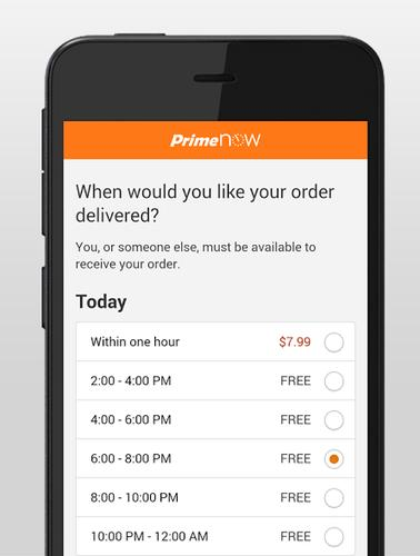 Via a mobile app, Amazon lets users have goods delivered within an hour using Prime Now