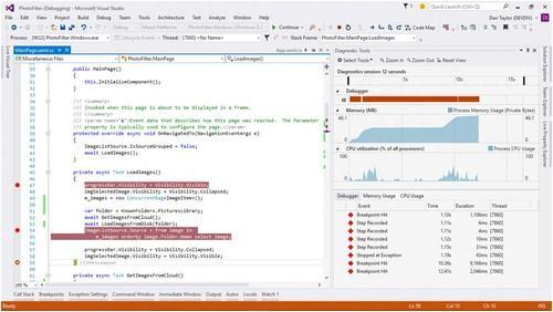 Visual Studio 2015 unifies debugging and profiling into a single Diagnostics Tools window.