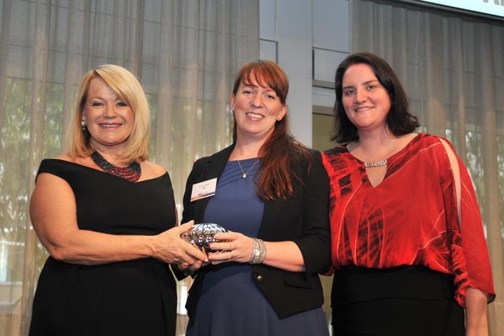 2014 Technical Award winner, Katrina Read (IBM), with Susan Searle and Jennifer O'Brien